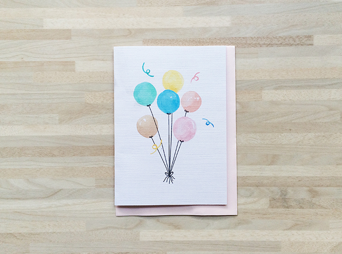 Watercolor birthday card 2