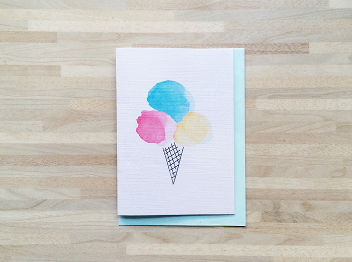 Watercolor birthday card 4