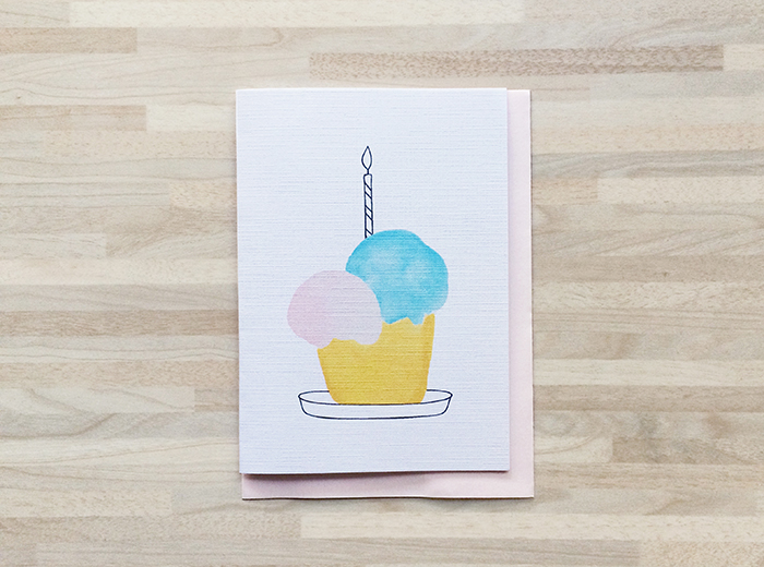 Watercolor birthday card 7